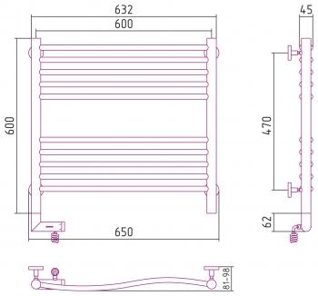 Полотенцесушитель электрический Сунержа Флюид 2.0 600х600