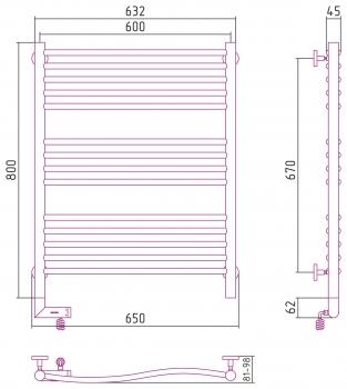 Полотенцесушитель электрический Сунержа Флюид 2.0 800х600