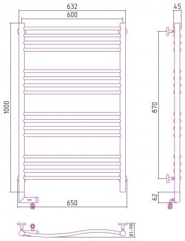Полотенцесушитель электрический Сунержа Флюид 2.0 1000х600
