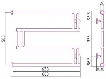 Полотенцесушитель водяной Сунержа High-Tech model M+ 500х650 с защитой