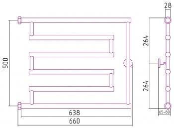Полотенцесушитель водяной Сунержа High-Tech model L+ 500х650 с защитой