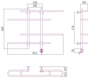 Полотенцесушитель электрический Стилье Формат 15 600х900