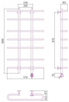 Полотенцесушитель электрический Стилье Формат 15 1000х600