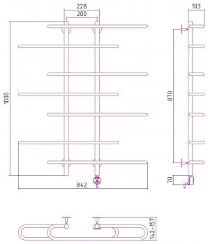 Полотенцесушитель электрический Стилье Формат 15 1000х900